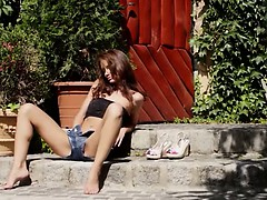 brunette and outdoor tease...